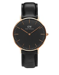 Daniel Wellington Crystal 18K Rose Gold Plated Leather Strap Watch Black