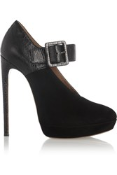 Alaia Suede And Lizard Pumps Black