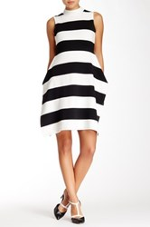 Gracia Striped Mock Neck Dress