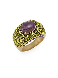 Heidi Daus Captivating Multicolored Rhinestones And Swarovski Crystal Dome Ring Gold Multi