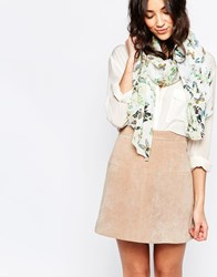 Yumi Butterfly Print Scarf White