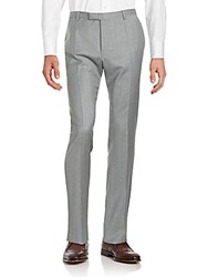 Strellson Checkered Wool Straight Fit Pants Grey