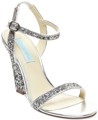Blue By Betsey Johnson Darci Wedge Evening Sandals Women's Shoes Silver