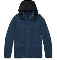 Aspesi Brushed Cotton And Linen Blend Field Jacket Blue