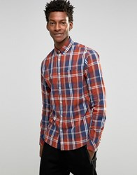 Solid Check Shirt With Button Down Collar Red