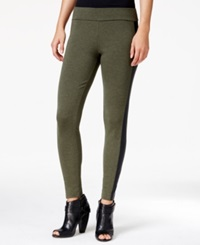 Kensie Faux Leather Panel Ponte Leggings Heather Fern Combo