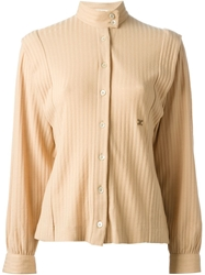 Celine Vintage Ribbed Shirt Nude And Neutrals