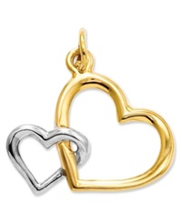 Macy's 14K Gold And Sterling Silver Charm Double Heart Charm