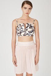 Opening Ceremony Painted Leaves Denim Sweetheart Bustier Blush Pink Multi