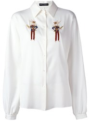 Dolce And Gabbana Beaded Rabbit Detail Shirt White