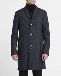 Calvin Klein Mottled Blue Wool And Cashmere Coat
