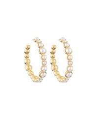 Kenneth Jay Lane Golden Pearly Hoop Earrings White