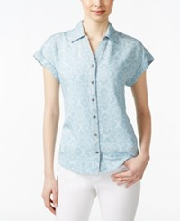 Styleandco. Style And Co. Printed Button Down Denim Shirt Only At Macy's Bandana