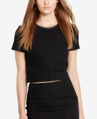 Polo Ralph Lauren Leather Trim Tweed Crop Top Polo Black