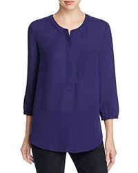Nydj Pleated Back Blouse Nightshade Blue