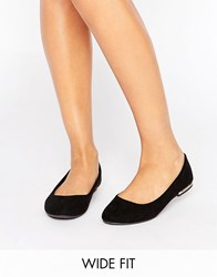 New Look Wide Fit Metal Heel Ballet Pump Black