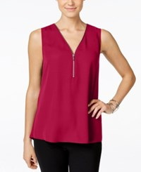 Inc International Concepts Sleeveless Zippered Knit Back Top Only At Macy's Real Red
