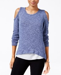 Bar Iii Heathered Cold Shoulder Knit Top Only At Macy's Denim