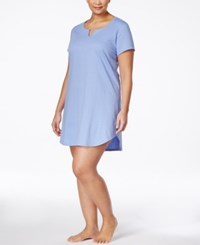 Charter Club Plus Size Short Sleeve Printed Sleepshirt Only At Macy's Blue Duo Dot