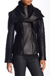 Soia And Kyo Knit Stand Collar Leather Jacket Black
