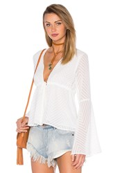 Endless Rose Woven Long Sleeve V Neck Blouse White