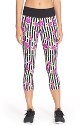 Betsey Johnson Floral And Stripe Print Crop Leggings Black Peony Combo
