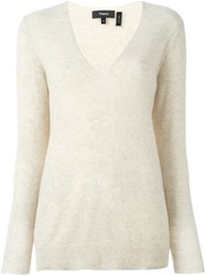 Theory V Neck Jumper Nude And Neutrals