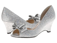 J. Renee Chrissy Silver Glam Fabric Women's Wedge Shoes