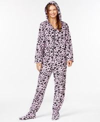 Hello Kitty Fleece Hooded Footed Pajamas Pink