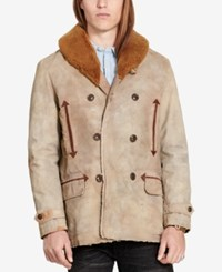 Denim And Supply Ralph Lauren Men's Slim Fit Canvas Coat With Faux Fur Trim Tan