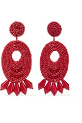 Kenneth Jay Lane Gold Plated Bead Clip Earrings Red