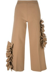 Msgm Ruffle Detail Cropped Trousers Nude And Neutrals