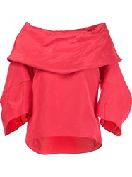 Rosie Assoulin Off Shoulder Faille Top Red