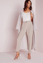 Missguided Belted High Waisted Cigarette Trousers Grey