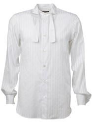 Ann Demeulemeester Bow Tie Collar Striped Shirt White