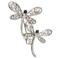John Lewis Double Dragonfly Brooch Silver