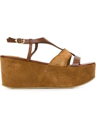 L'autre Chose Buckled Platform Sandals Brown