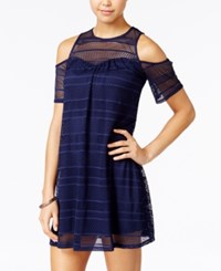 Speechless Juniors' Mesh Lace Cold Shoulder Shift Dress Navy