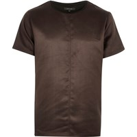 River Island Mens Brown Faux Suede T Shirt