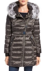 French Connection Women's Quilted Coat With Faux Fur Trim Hood Gunmetal