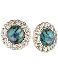 Lonna And Lilly Gold Tone Blue Stone Pave Framed Stud Earrings