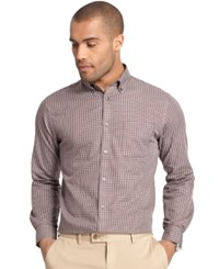 Van Heusen Premium No Iron Check Long Sleeve Shirt Red Pinot Noir