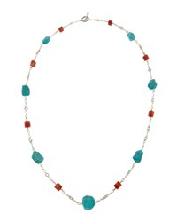 Stephen Dweck Long Chunky Turquoise And Agate Necklace Women's