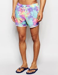Asos Short Length Runner Swim Shorts With Neon Tie Dye Print Multi