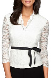 Alex Evenings Women's Belted Lace Top Ivory