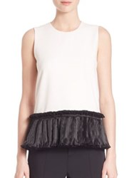 Opening Ceremony Ruffle Stone Tank Top White