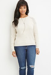 Forever 21 Plus Size Lace Paneled Sweater Oatmeal