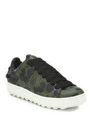 Coach Camouflage Leather Sneakers Green Multi
