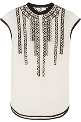 Day Birger Et Mikkelsen Crewel Embroidered Cotton Blend Voile Top White