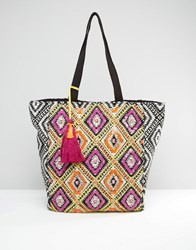 New Look Embellished Shopper Bag Multi Coloured